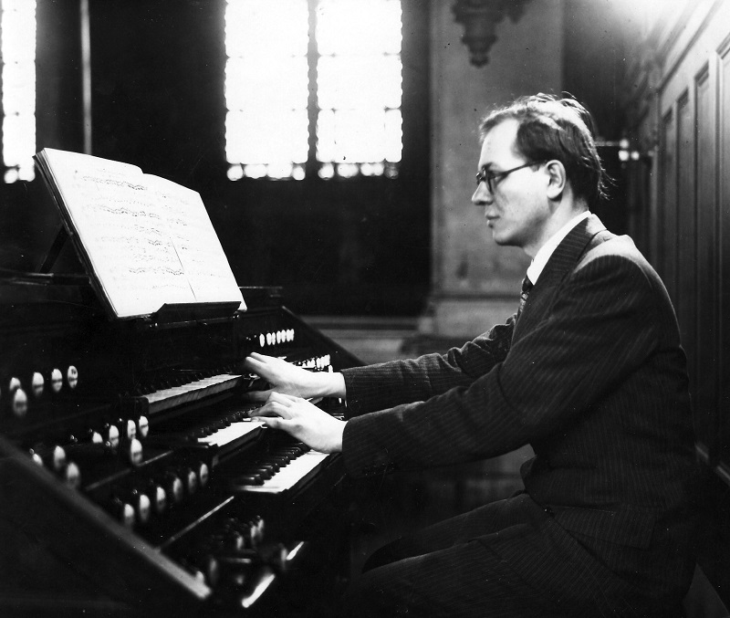"Olivier Messiaen  at the organ of ""La Trinite"" circa 1940."