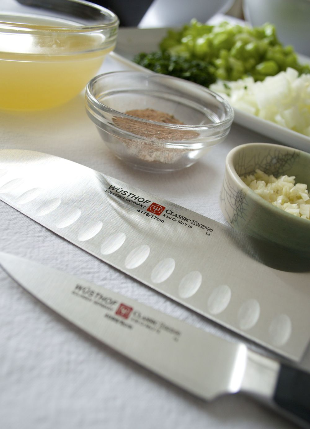 A WÜSTHOF Classic Ikon Santoku & Classic Ikon Paring Knife were used in the preparation of this meal.