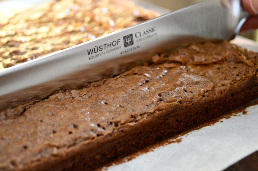 The WÜSTHOF Classic Double Serrated Bread Knife cuts through the brownies like butter.