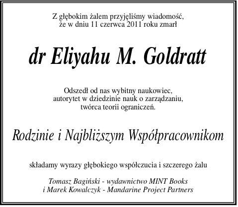 Zmarł dr Eliyahu M. Goldratt, twórca teorii ograniczeń. Stało się to o wiele za wcześnie…