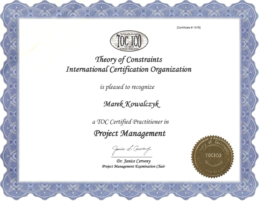 My CCPM (Critical Chain Project Management) TOCICO certificate has arrived!