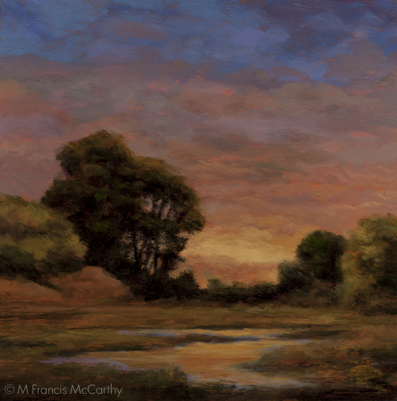 """Sundown over the Glen"" Size 8x8 inches by M Francis McCarthy"