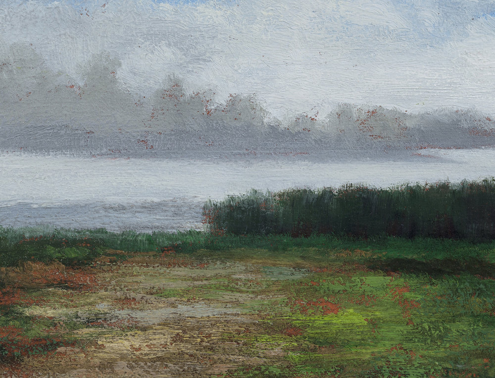 Misty Lake 5x7 by M Francis McCarthy, Oil on Wood Panel (Detail)