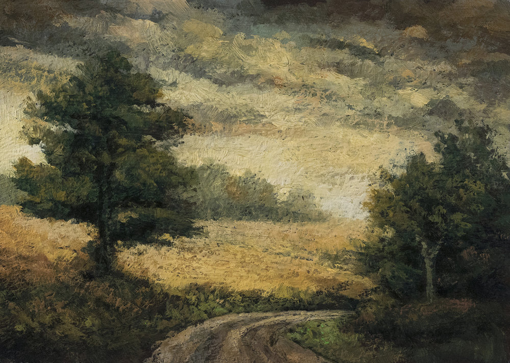A Road in France5x7 by M Francis McCarthy, Oil on Wood Panel