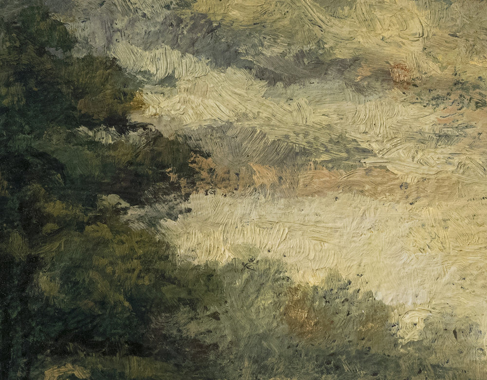 A Road in France 5x7 by M Francis McCarthy, Oil on Wood Panel (Detail)