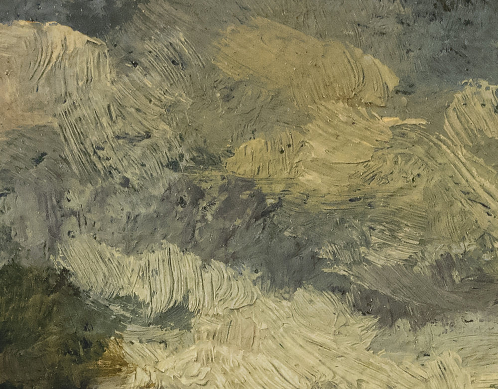 A Road in France 5x7 by M Francis McCarthy, Oil on Wood Panel (Detail 2)