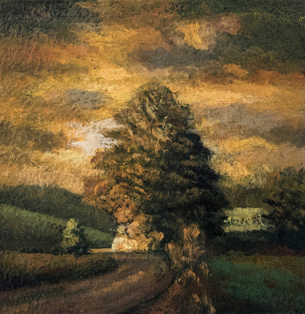 Twilight Road 3½x3½ by M Francis McCarthy, Oil on Wood Panel
