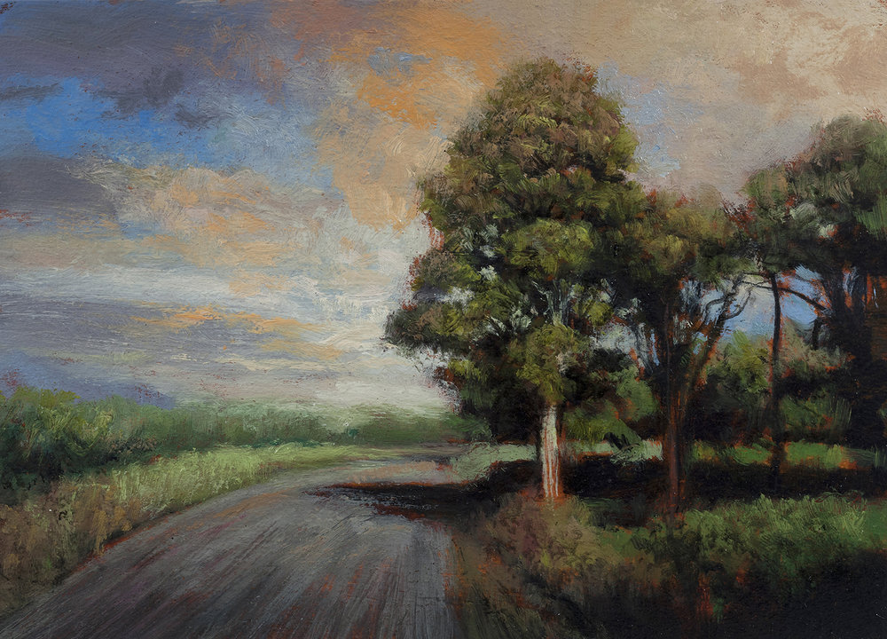 Late Afternoon Road 5x7 by M Francis McCarthy, Oil on Wood Panel