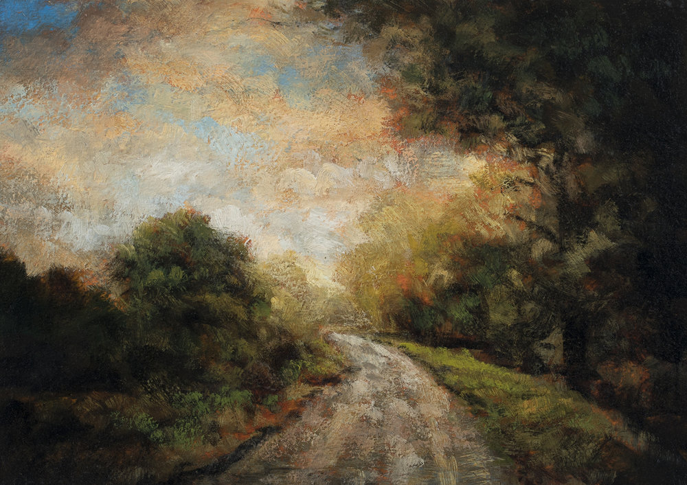 Down the Road Revised by M Francis McCarthy - 5x7 Oil on Wood Panel