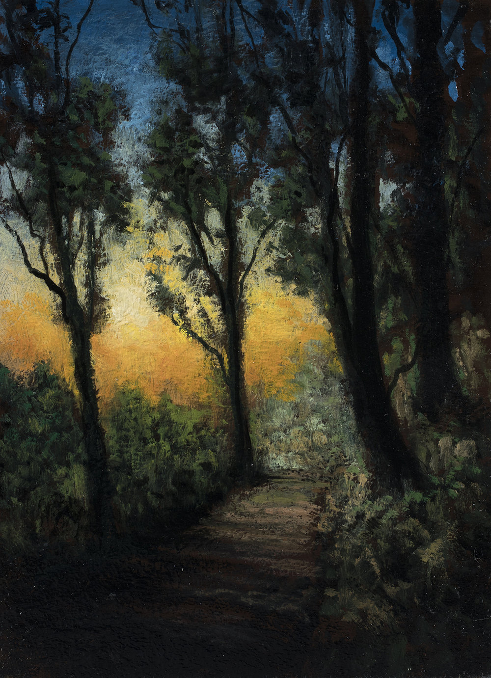 Twilight Trail by M Francis McCarthy - 6x8 Oil on Wood Panel