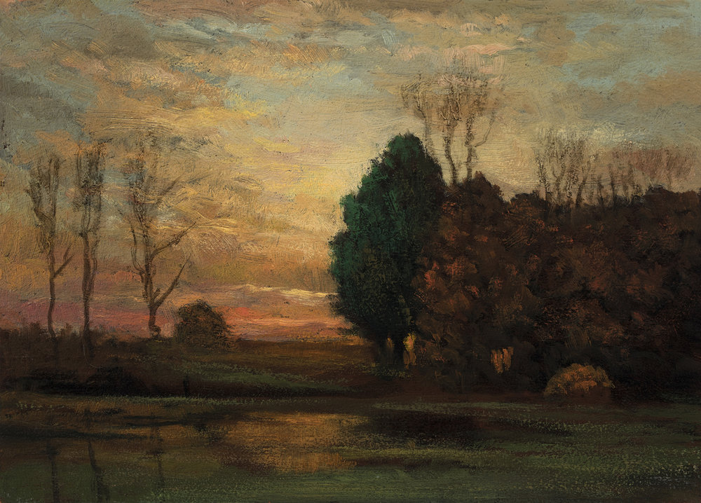 Study after John Enneking 'Tranquility at Sunset'by M Francis McCarthy - 5x7 Oil on Wood Panel