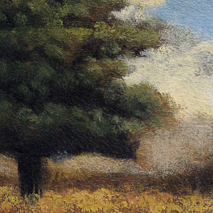 October by M Francis McCarthy - 5x5 Oil on Wood Panel (Detail)