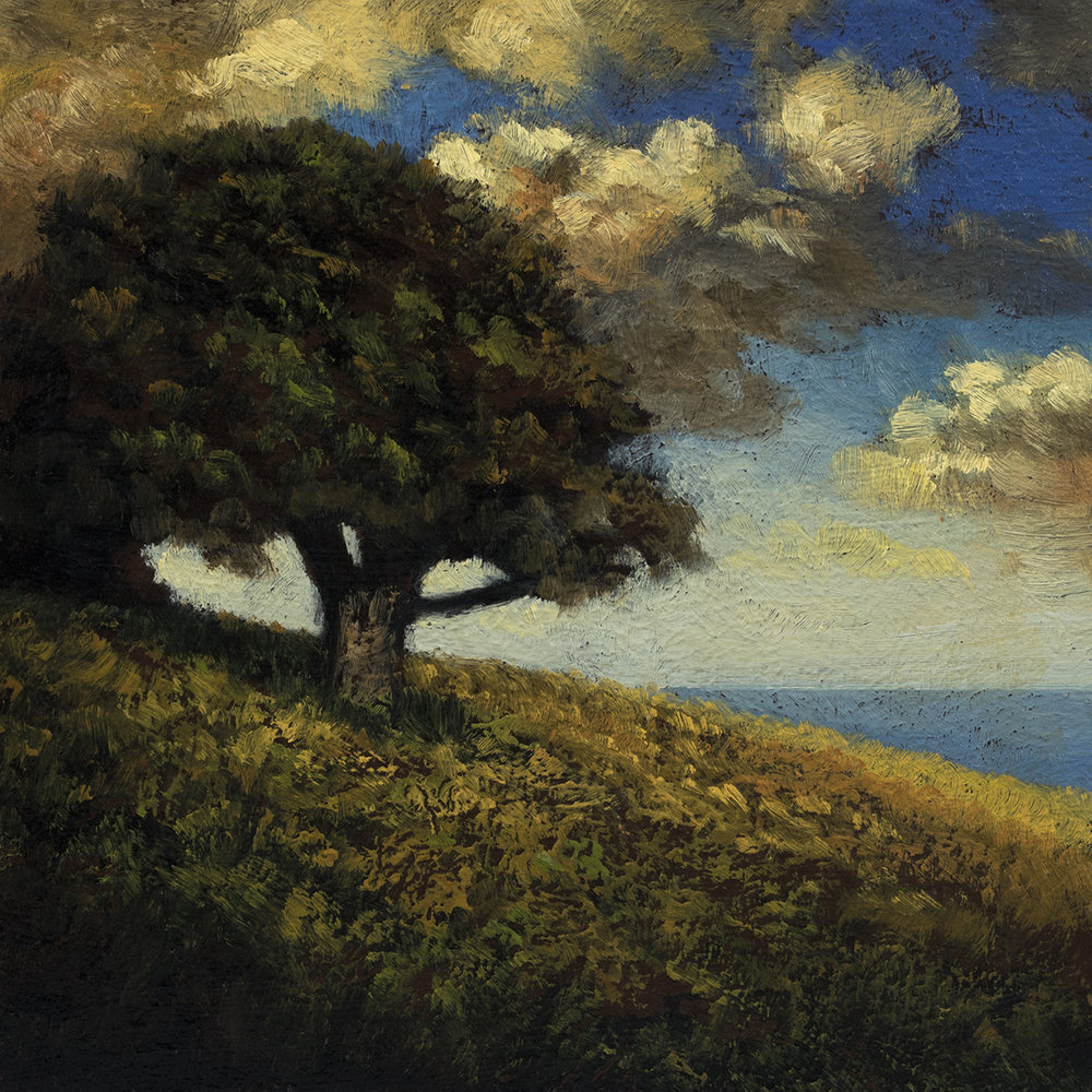 'Hill by the Sea' by M Francis McCarthy - 5x7 Oil on Wood Panel