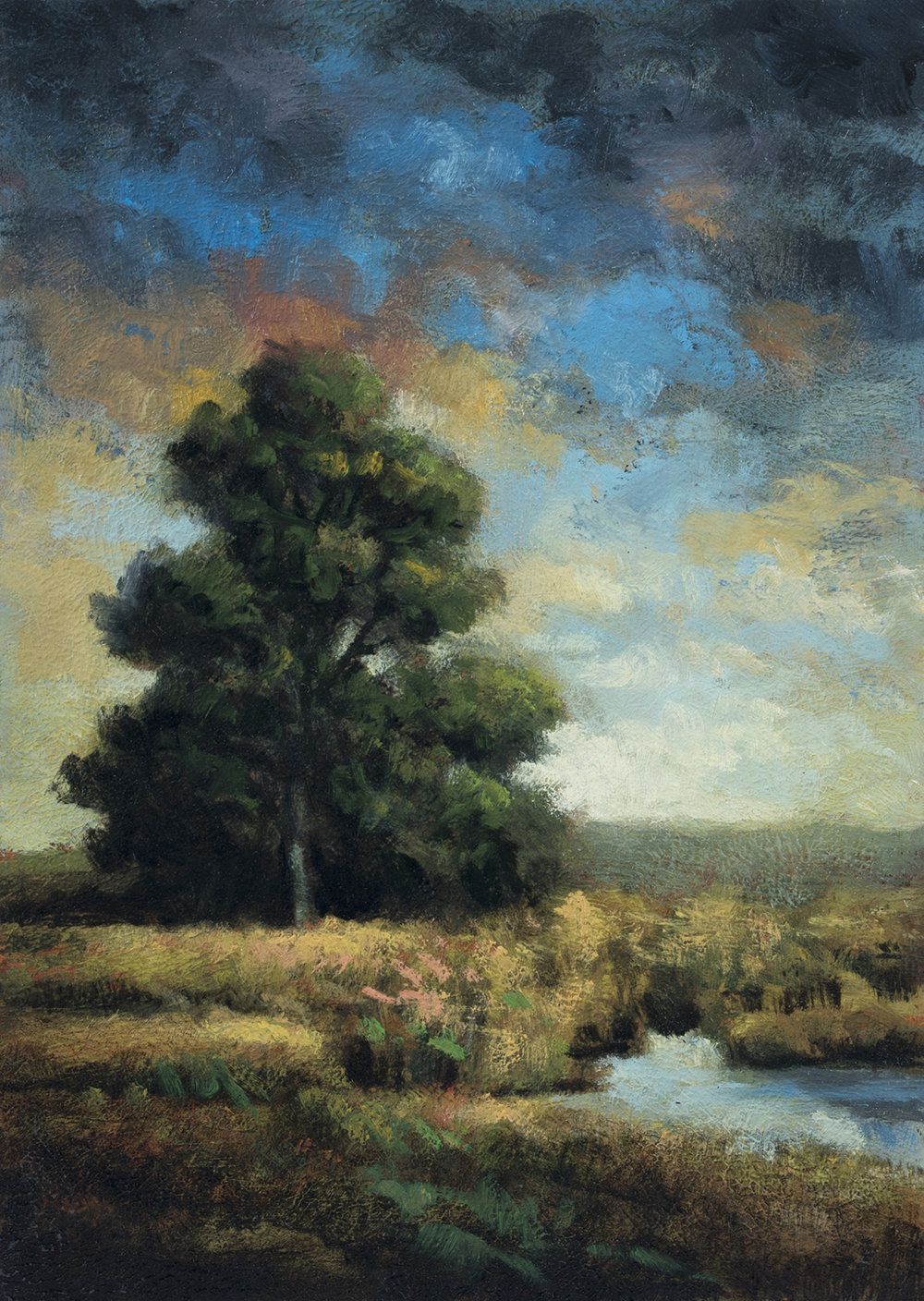 Riverside Meadow  by M Francis McCarthy - 5x7 Oil on Wood Panel