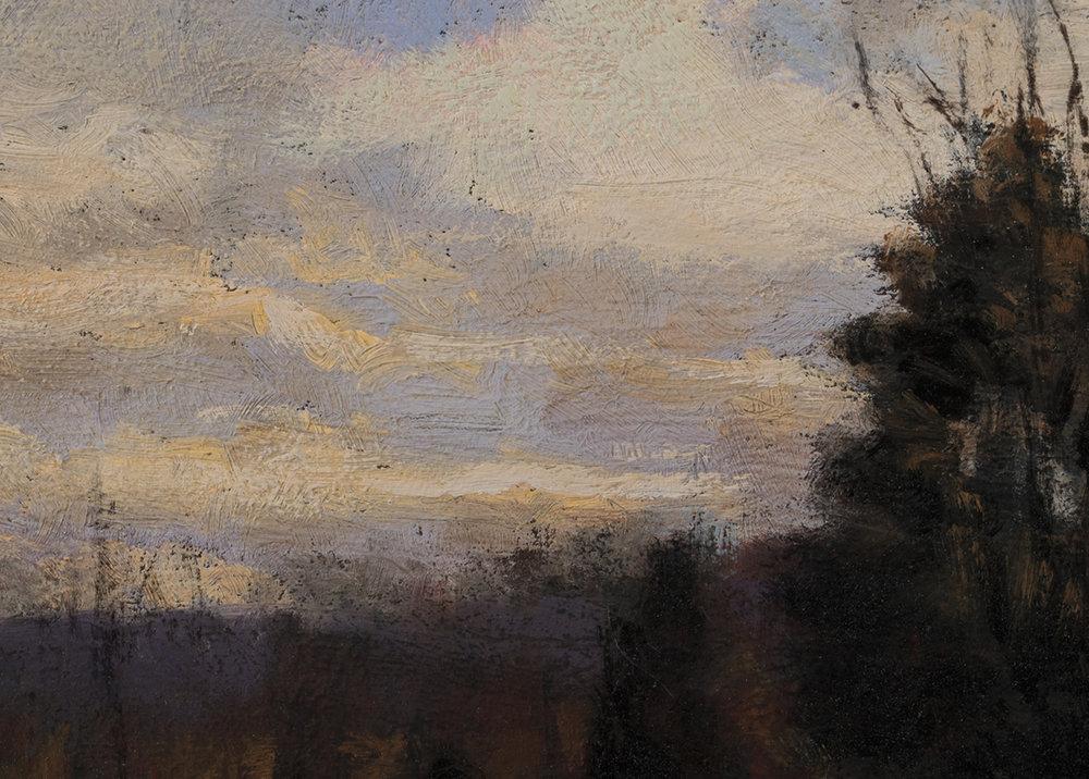 Study after: Hugh Bolton Jones - Winter Sunset by M Francis McCarthy - 5x7 (detail)