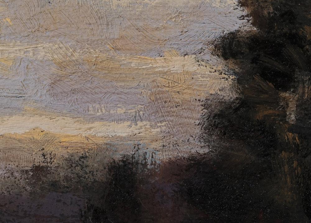 Study after: Hugh Bolton Jones - Winter Sunset by M Francis McCarthy - 5x7 (detail 2)