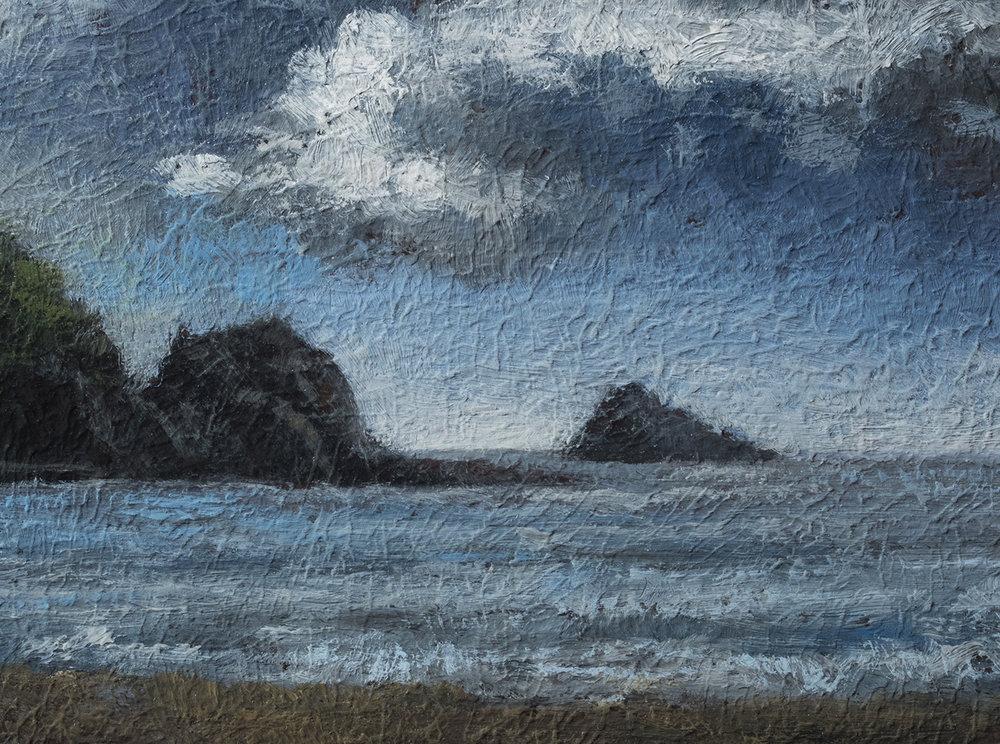 Cloudy Beach by M Francis McCarthy - 6x8 (Detail)