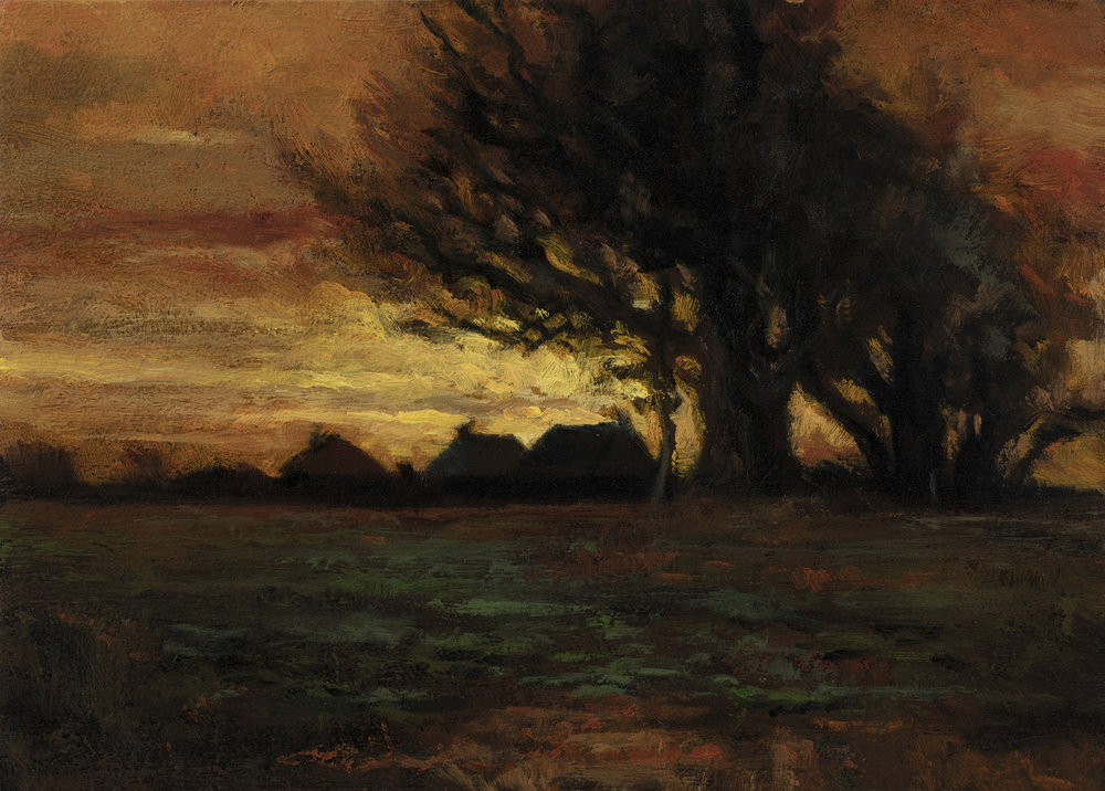 Study after: Charles Dewey - Landscape by M Francis McCarthy - 5x7 Oil on Wood Panel