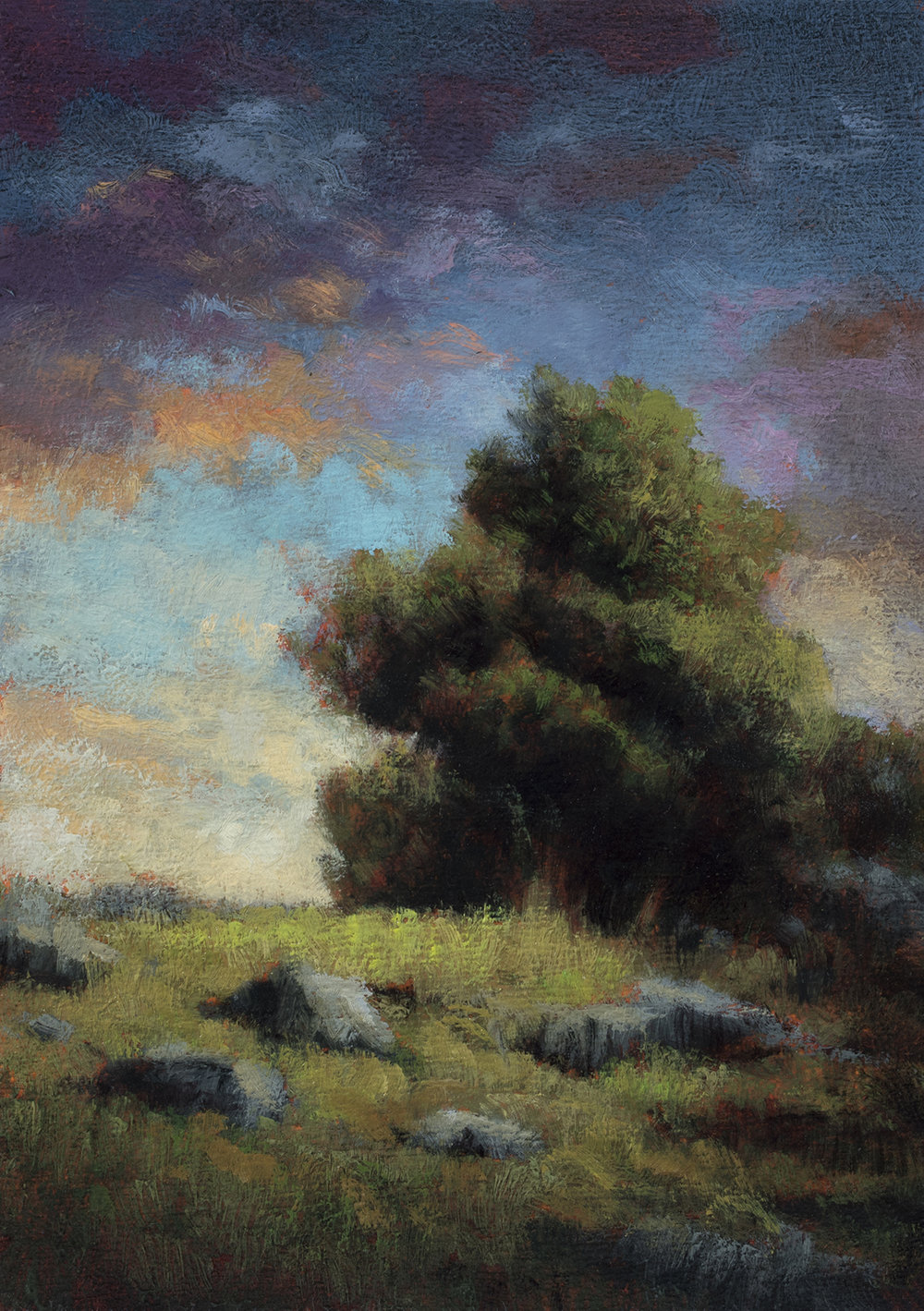 Sunset Paddock by M Francis McCarthy - 5x7 Oil on Wood Panel