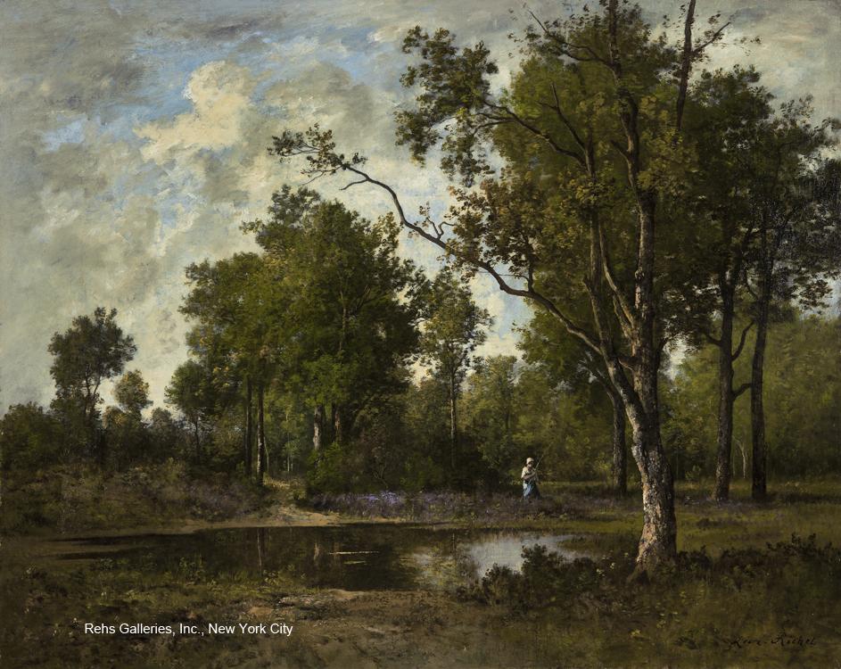 Original painting by Leon Richet - Foret de Fontainebleau