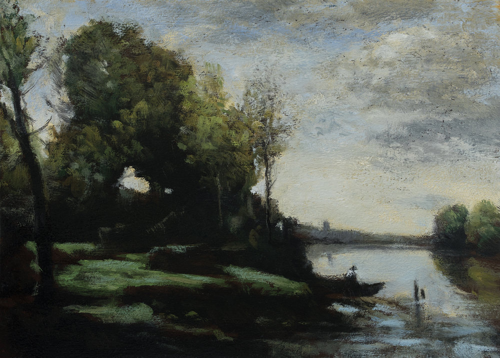 Study after: Camille Corot River with a Distant Tower - 5x7 Oil on Wood Panel