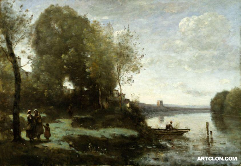 Camille Corot River with a Distant Tower (Original)