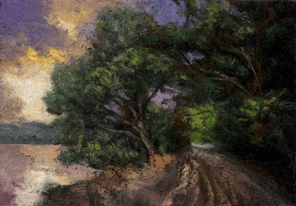 Lakeside Path by M Francis McCarthy - 3½x5 Oil on Wood Panel