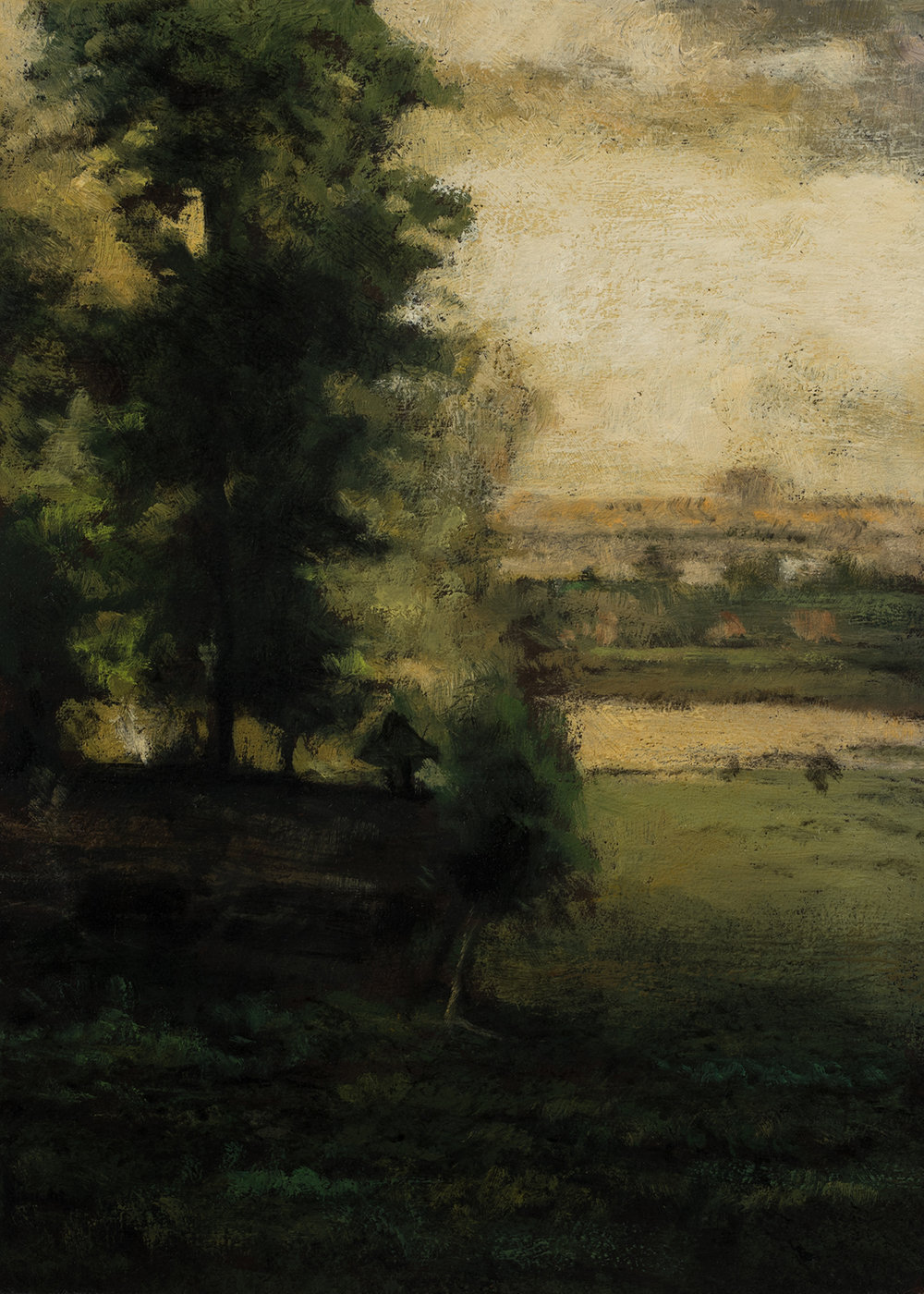 Study after:  George Inness Scene at Durham by M Francis McCarthy - 5x7 Oil on Wood Panel