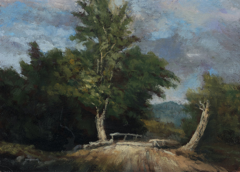 Study after: George Inness Landscape  by M Francis McCarthy - 5x7 Oil on Wood Panel