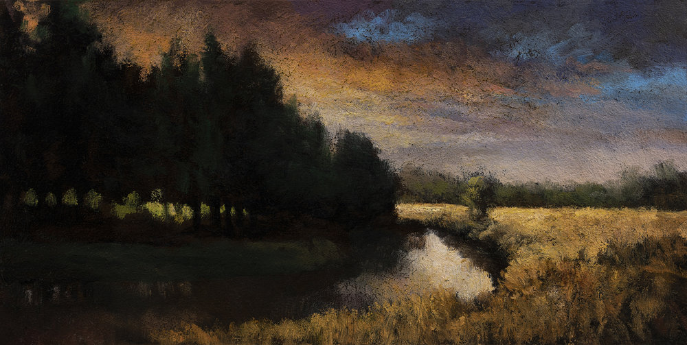 Creek at Sunset by M Francis McCarthy - 5x10 Oil on Wood Panel