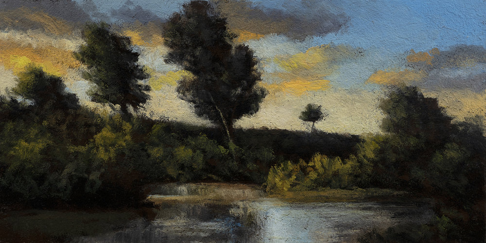 By the Pond by M Francis McCarthy - 5x10 Oil on Wood Panel