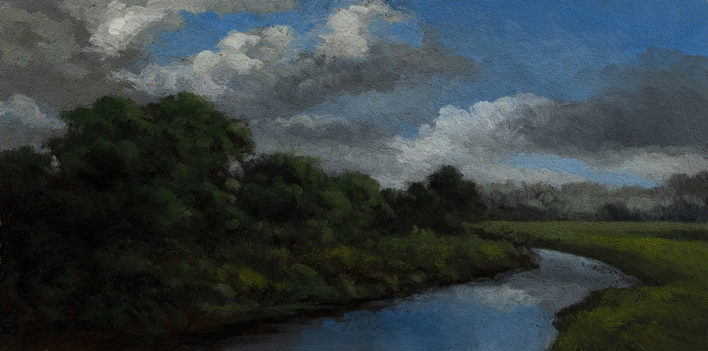 Stream through the Pastureby M Francis McCarthy - 5x7 Oil on Wood Panel