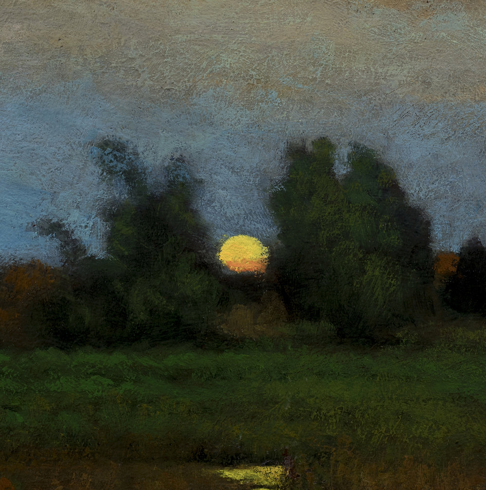 Study after: George Inness - Moonrise by M Francis McCarthy - 8x8 (Detail)