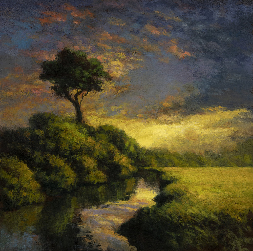 River Reflections by M Francis McCarthy - 11x11 Oil on Wood Panel