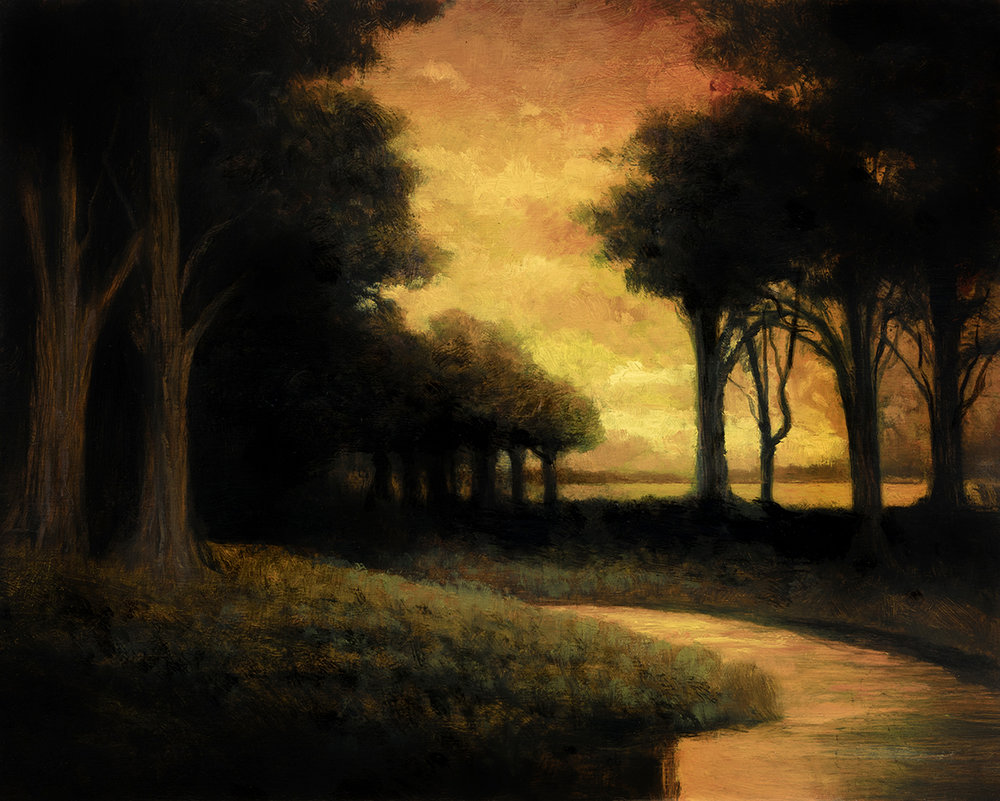 Woodland Brook at Sunset by M Francis McCarthy - 8x10 Oil on Wood Panel