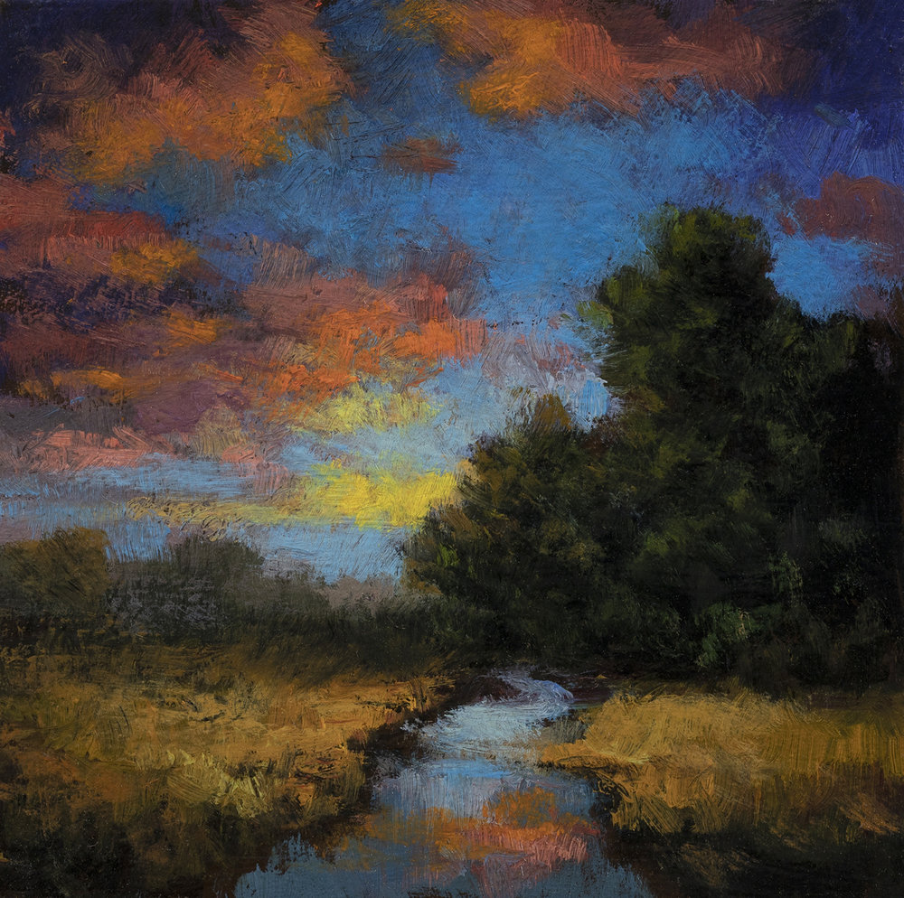 Morning Stream by M Francis McCarthy - 3½x3½ Oil on Wood Panel