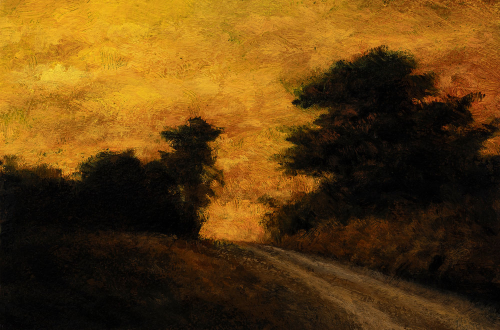 Sunset Road by M Francis McCarthy - 4x6 Oil on Wood Panel