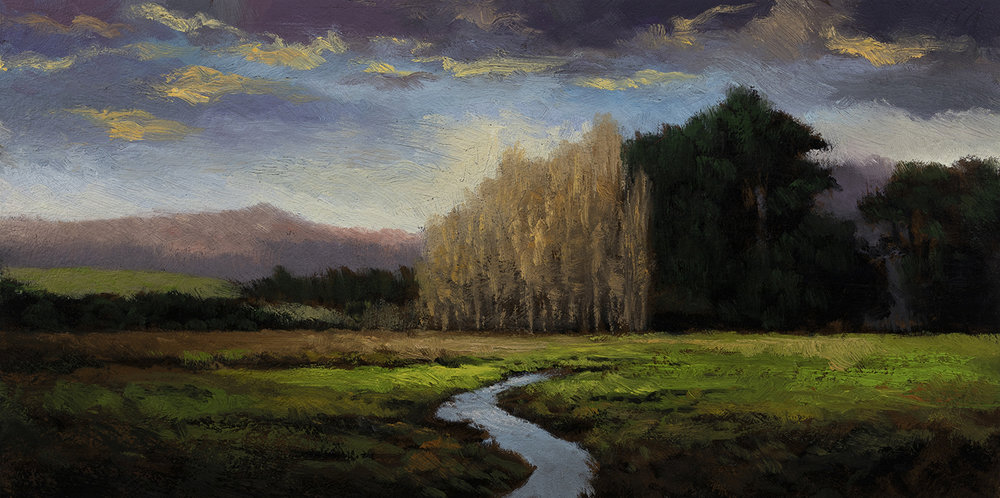 Meadow Stream by M Francis McCarthy - 5x10 Oil on Wood Panel