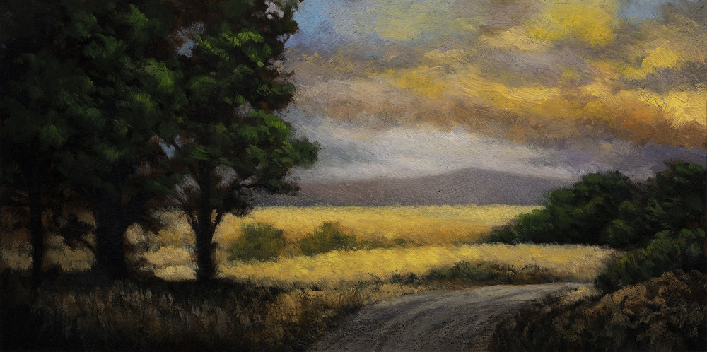 Golden Field by M Francis McCarthy - 5x10 Oil on Wood Panel