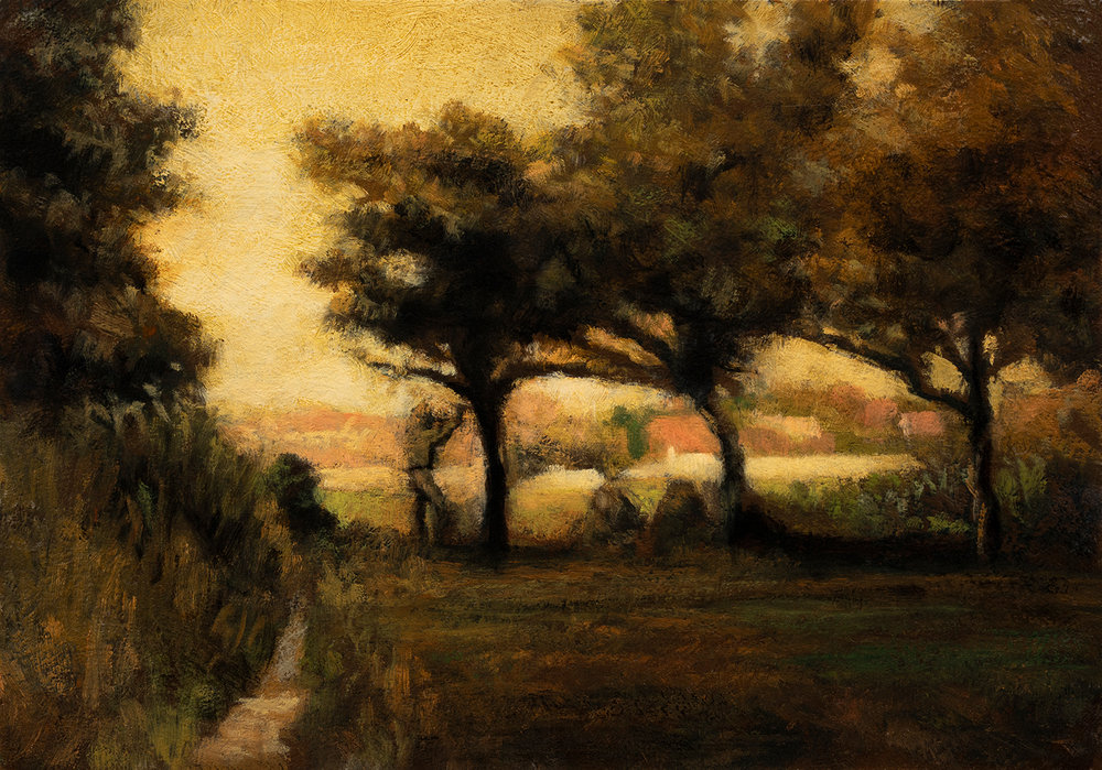 Study after: Jean Millet Apple Picking by M Francis McCarthy - 7x10 Oil on Wood Panel