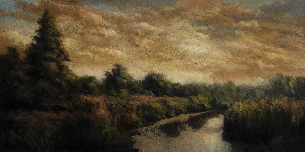 Summer Creek by M Francis McCarthy - 5x10 Oil on Wood Panel