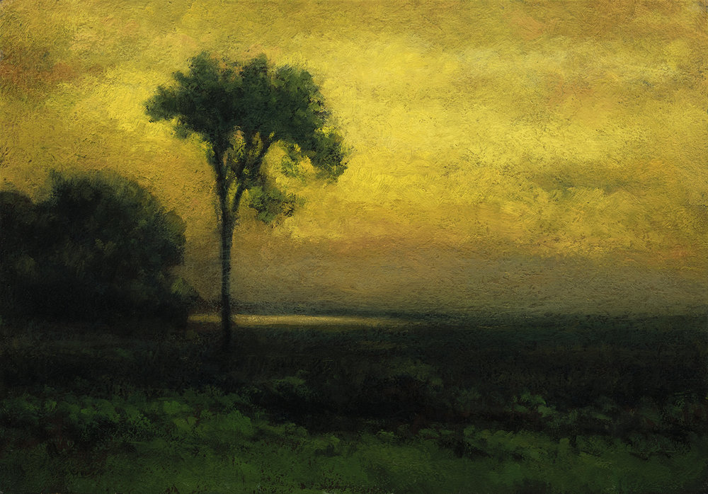 Study after: George Inness Sunrise by M Francis McCarthy - 7x10 Oil on Wood Panel
