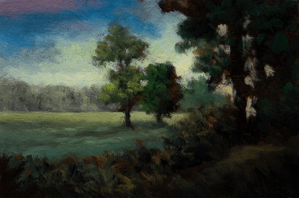 Edge of the Pasture by M Francis McCarthy - 4x6 Oil on Wood Panel