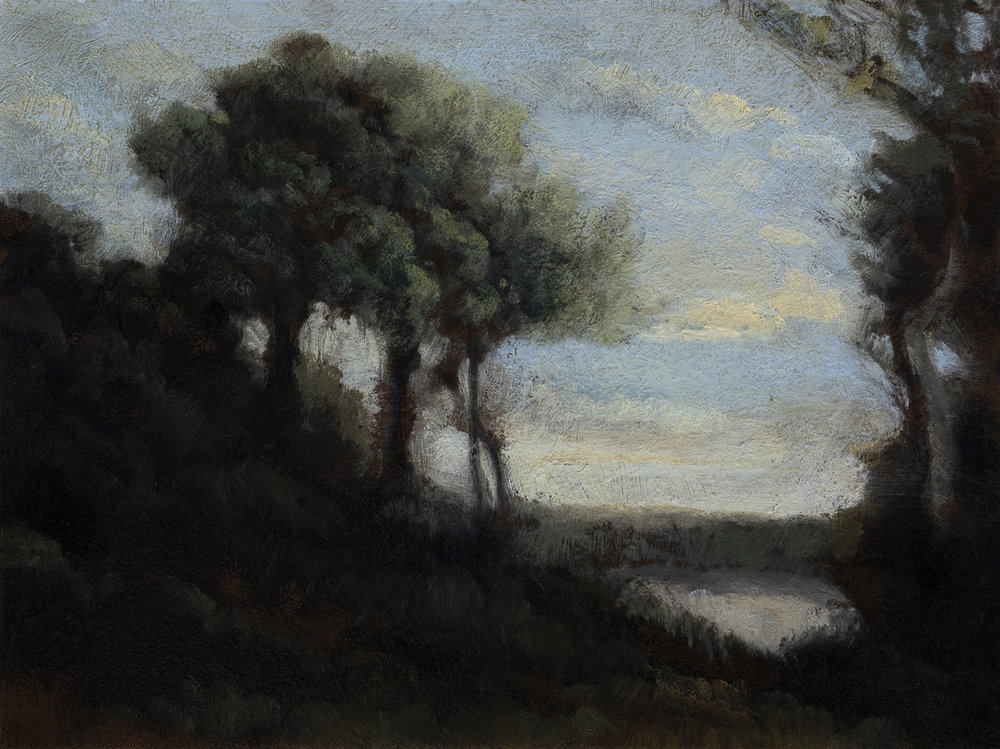 Study after: Camille Corot Evening by M Francis McCarthy - 6x8 Oil on Wood Panel