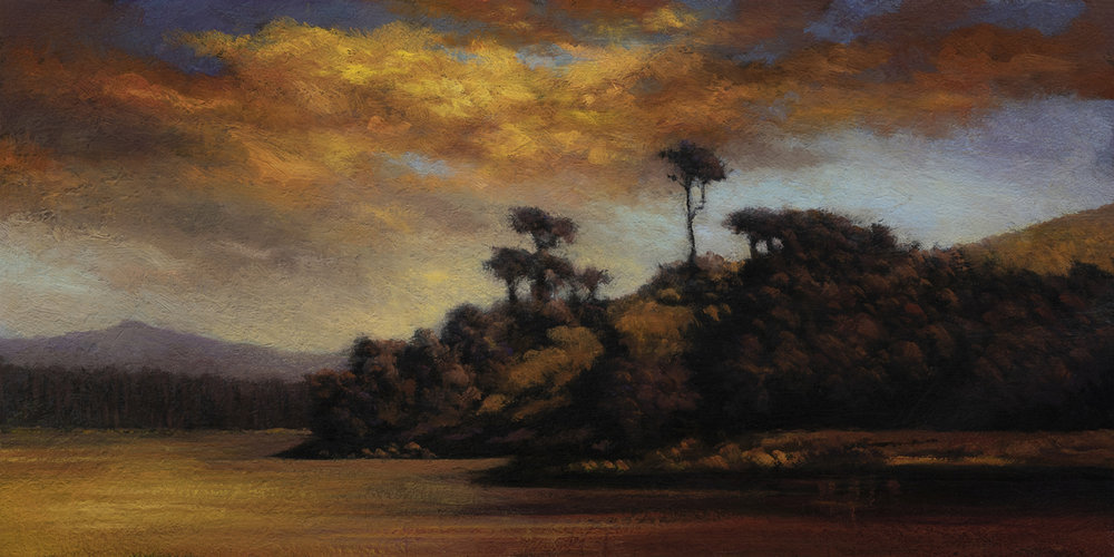 Sunset after a Storm by M Francis McCarthy - 7x14 Oil on Wood Panel