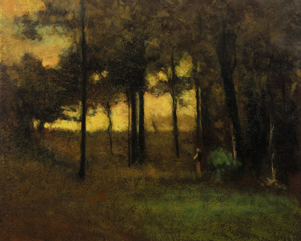 Study after George Inness Sunset in Georgia by M Francis McCarthy - 8x10 Oil on Wood Panel