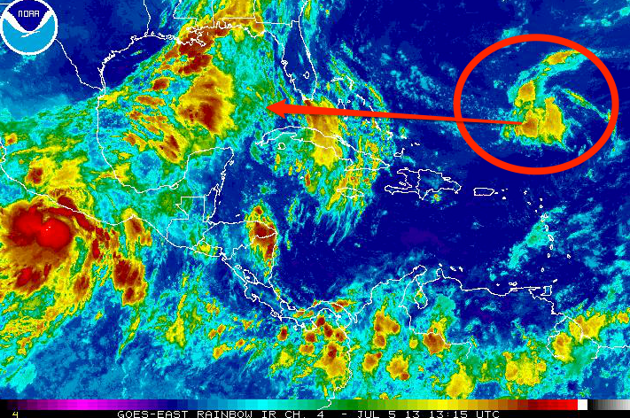 This system will move towards the west. Not likely to develop, but it will need to be monitored.