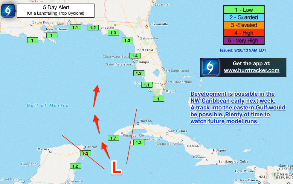 Current Hurricane Tracker app 5 day alert levels.