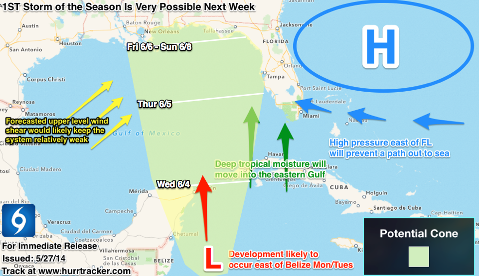 Our cone of uncertainly for possible tropical development Mon/Tues.