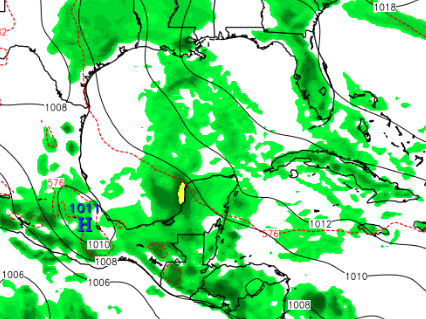 GFS has dropped development, but shows increased storminess around the Yucatan Peninsula next week